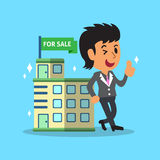 Real estate broker agent and building for sale Stock Photo