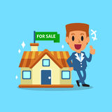 Real estate broker agent and house for sale Stock Photos