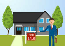 Real estate broker, cottage for sale. Stock Photography