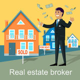 Real Estate Broker Design Flat Royalty Free Stock Images