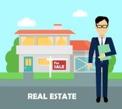 Real estate broker at work. Building for sale Stock Image