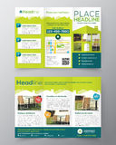 Real Estate-Broschüren-Fliegerdesign-Vektorschablone in der Größe A4 Lizenzfreie Stockbilder