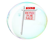Real estate Bubble. Real estate for sale sign in a fragile bubble Royalty Free Stock Images