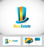 Real estate building logo icon design. Real estate building 3d blue orange vector logo icon design Royalty Free Stock Image
