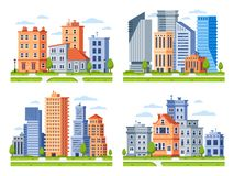 Real estate buildings. City houses cityscape, town apartment house building and urban residential district vector royalty free illustration