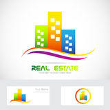 Real estate buildings skyscrapers logo Stock Image