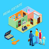 Real Estate Business. Broker Agent Selling Apartment to Young Family. Isometric People. Royalty Free Stock Images