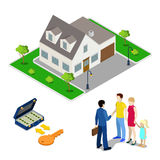 Real Estate Business. Broker Agent Selling House to Young Family. Isometric People. Royalty Free Stock Photo