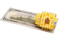 Real estate business concept. Dollar banknote with House on whit Royalty Free Stock Photos