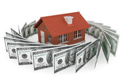Real estate business concept. Dollars banknotes with Brick House Stock Image