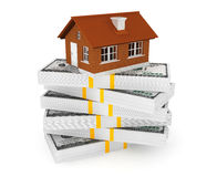 Real estate business concept. Dollars banknotes with Brick House Stock Photos