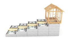Real Estate Business Concept. House Frame over Money Stack Stock Images