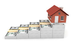 Real Estate Business Concept. House over Money Stack Royalty Free Stock Photo