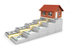 Real Estate Business Concept. House over Money Stack Stock Photo