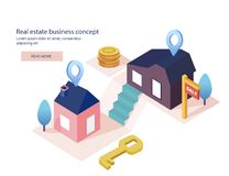 Real estate business concept with houses. House for sale, installment sale, credit,rent. The best location,Vector illustration. Real estate business concept Royalty Free Stock Photo