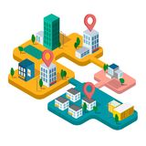 Real estate business concept with houses. Isometric vector illustration with buildings. Map of the city in Isometric style, the concept of sale and rental Stock Image