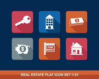 Real estate business flat icons set. Stock Photography