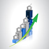 Real estate business graph illustration. Over a white background Royalty Free Stock Photography