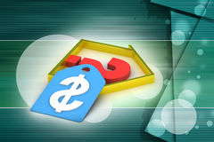 Real estate business with question mark and dollar sign Stock Photography