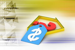 Real estate business with question mark and dollar sign Royalty Free Stock Images