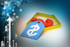 Real estate business with question mark and dollar sign Royalty Free Stock Photo