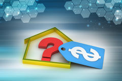Real estate business with question mark and dollar sign Stock Photos