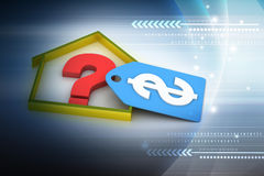 Real estate business with question mark and dollar sign Stock Image