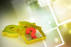Real estate business with question mark and dollar sign Royalty Free Stock Photos