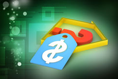 Real estate business with question mark and dollar sign Stock Photo