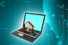Real estate business with question mark in laptop Stock Image