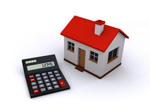 Real estate calculator. 3d render of a calculator next to a house Stock Photo