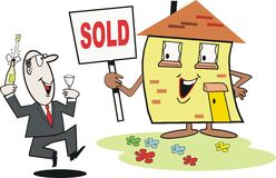 Real Estate cartoon. Cartoon of smiling house and real estate agent Royalty Free Stock Photos