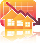 Real Estate Chart Down. Illustration of Real Estate Chart Down Stock Images