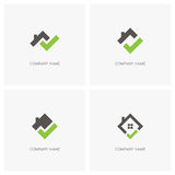 Real estate with check mark logo. Real estate with check mark vector logo. Home with window and chimney on the roof, house with tick or checkmark symbol - realty Royalty Free Stock Photos