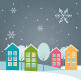 Real Estate Christmas Card With Colorful Houses Stock Images