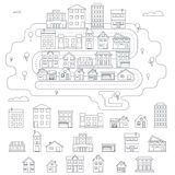 Real Estate City Building House Street Linear Royalty Free Stock Photos