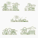 Real estate city buildings icons. Real estate city buildings. Stock vector line art illustration Royalty Free Stock Photos