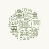 Real estate city buildings. Stock vector illustration Royalty Free Stock Photos