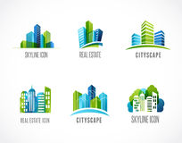Real estate, city, skyline icons and logos Stock Photography