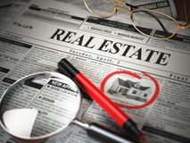 Real estate classifieds ads newspaper  and magnifying glass. 3d illustration Royalty Free Stock Photography