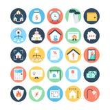 Real Estate a coloré les icônes 5 de vecteur illustration stock
