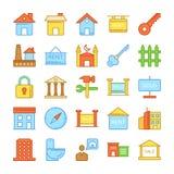 Real Estate a coloré les icônes 1 de vecteur Image stock