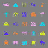 Real estate color icons on gray background Royalty Free Stock Photography