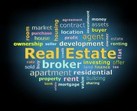 Real estate word cloud on black background with blue growing light Stock Photo