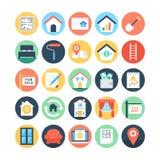 Real Estate coloreó los iconos 2 del vector