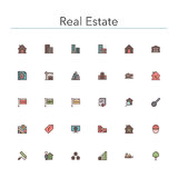 Real Estate Colored Line Icons Royalty Free Stock Photos