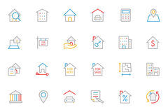 Real Estate Colored Line Icons 1. This trendy set of real estate colored line icons are just perfect for real estate agencies and home insurance agencies Royalty Free Stock Photo