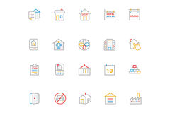 Real Estate Colored Line Icons 4. This trendy set of real estate colored line icons are just perfect for real estate agencies and home insurance agencies Stock Images