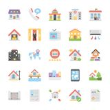 Creative Flat Icons Set Of Real Estate. This Real Estate Colored Vector Icons Set is just perfect for real estate agencies and home insurance agencies, adverts Royalty Free Stock Photo