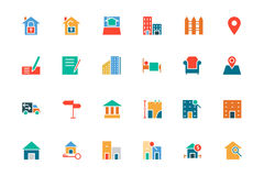 Real Estate Colored Vector Icons 2. This trendy set of real estate  icons are just perfect for real estate agencies and home insurance agencies, adverts and Royalty Free Stock Photos